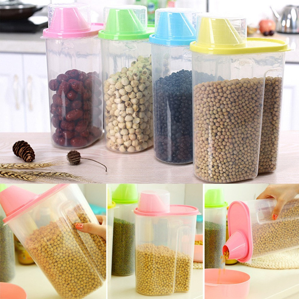 10pcs Dried Food Cereal Flour Pasta Food Storage Dispenser Rice Container Sealed Box 1 9L HXP001