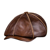 Men's Genuine Leather Warm Octagonal Cap, Casual Vintage Newsboy Cap Golf Driving Flat Cabbie Hat, Winter Male Artist Gatsby Cap
