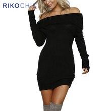 Rikochic толстые теплые зимние Свитер с длинными рукавами платье пикантные с плеча трикотажные Платья для женщин Для женщин Тонкий Bodycon Платья для вечеринок D008