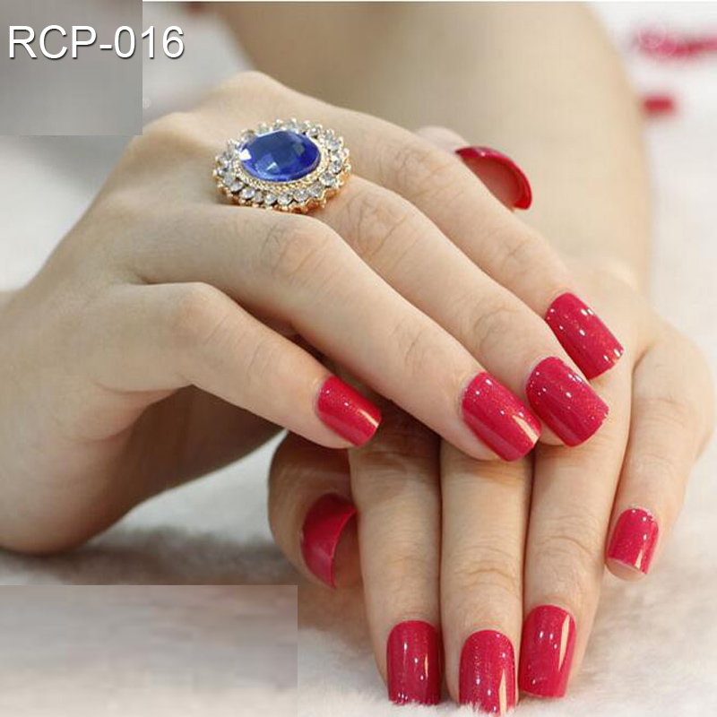 12Sets Full Cover Red Pink Self Adhesive Fake Nail Polish Tips ...