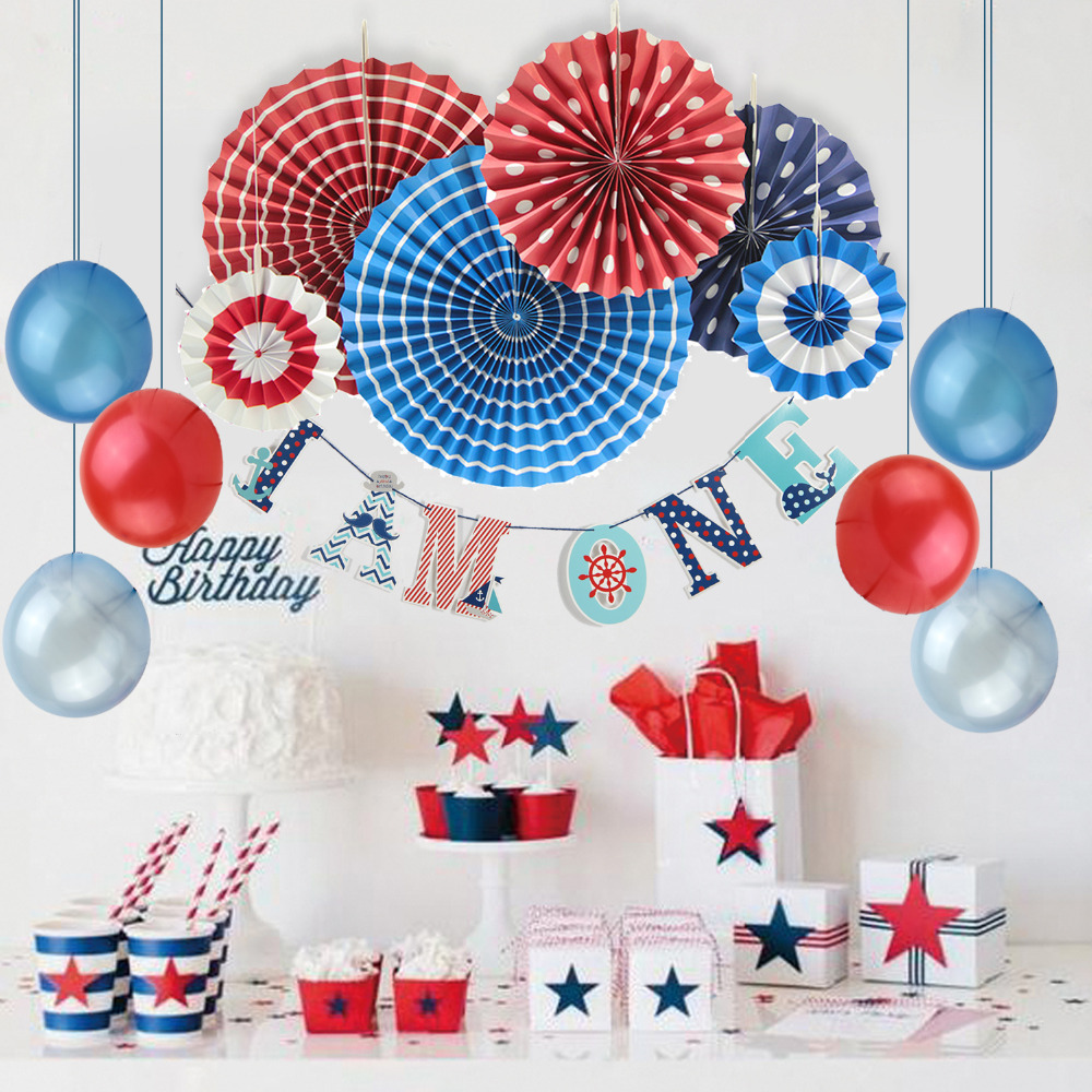 1st Birthday Party Decoration For Boy 11pcs(Red,Navy,White) With Banner Latex Balloon First 1