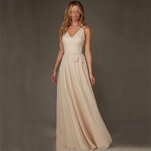 Champange Long A-Line Bridesmaid Dresses Long Sexy V Neck Spaghetti Straps Beading Sequin Customized Vestidos