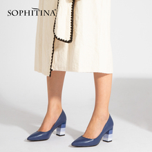SOPHITINA 2019 New Spring Pumps Fashion High Square Heel Sheepskin Pointed Toe Slip-on Casual Shoes Handmade Shallow A85