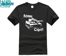 Mens Achtung Tiger WW2 German Deutschland Wehrmacht Panzer Tank Black Tee Shirt World of War 2 Military Armour T-shirt