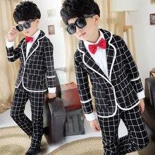 Парни комплект одежды детей пиджак + + брюки 3 шт. костюм 2 — 12 лет малыши установили весна осень джентльмен плед досуга