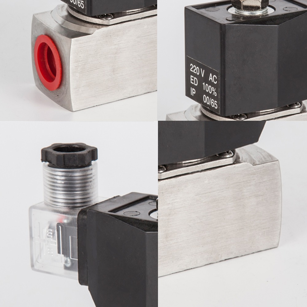 Piston type antiseptic acid solenoid valve Stainless Steel Normally Closed water liquid oil gas steam 2 way Valves 150 C in Valve from Home Improvement