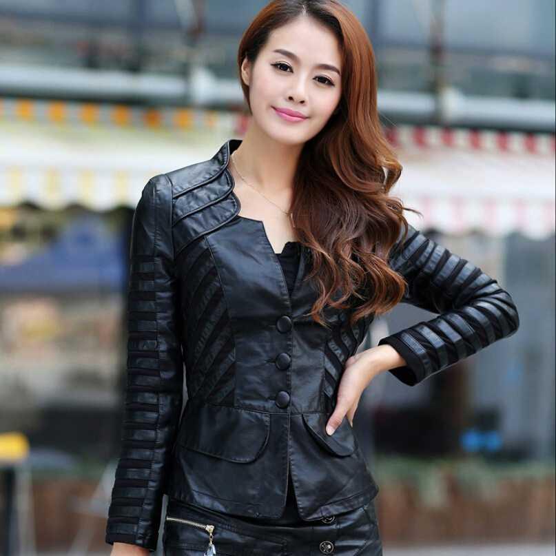 Yeni Çin Tarzı Kadın Moda Kış Ceket Dantel Dikiş Deri Ceket Zarif Büyük metre İnce Kadın Kısa Ceket G1965