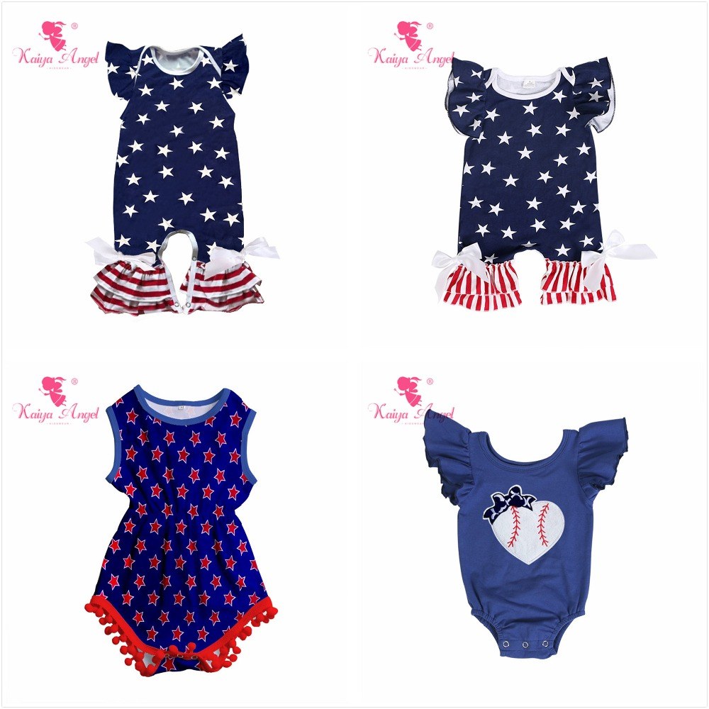 824ba691888a Kaiya Angel 4th Of July Patriotic Baby Girl Boy Summer Clothes Blue White  Stars Red and White Striped Cotton White Bow Rompers