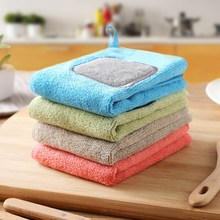 30x30CM Hangable Kitchen Cleaning Cloth Coral Velvet Towel Kitchen Wipes No Lint Absorbent Rag Cleaning Cloth Household Dirt coral velvet bathroom supplies soft hand towel absorbent cloth dishcloths hanging lint free cloth kitchen accessories