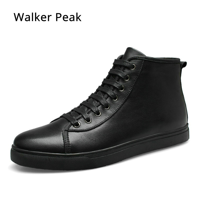 Genuine Leather Ankle Boots for men Business Chukka Mens Boots High Top Casual Shoes Outdoor Mens Winter Shoes Male Walker Peak men autumn winter genuine leather italian black luxury fashion casual plush ankle boots mens shoes male for wedding business 09