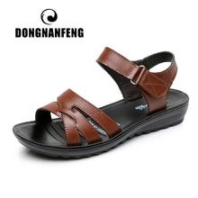 DONGNANFENG נשים בן אמא נקבה גבירותיי נעלי סנדלי פרה אמיתי עור PU חוף קיץ מגניב מקרית גודל 35 41 HD C12