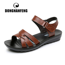 DONGNANFENG Women Old Mother Female Ladies Shoes Sandals Cow Genuine Leather PU Beach Summer Cool Casual Size 35 41 HD C12