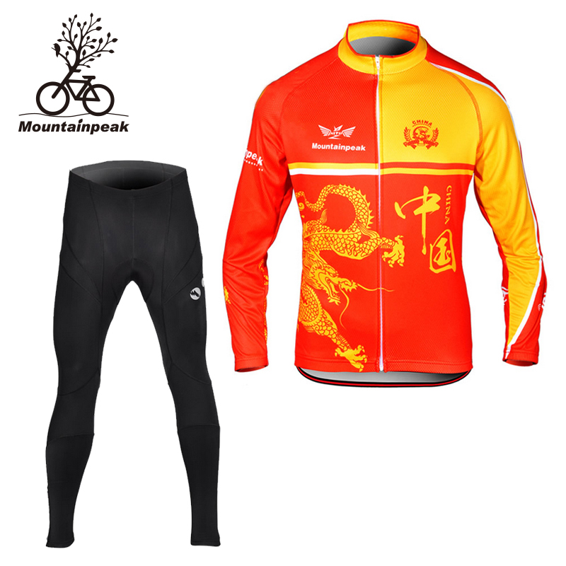 Mountainpeak Autumn Thin Cashmere Apparel Long Sleeved Male Riding Suit with Hualong Mountain Bike Suit Cycling Jacket