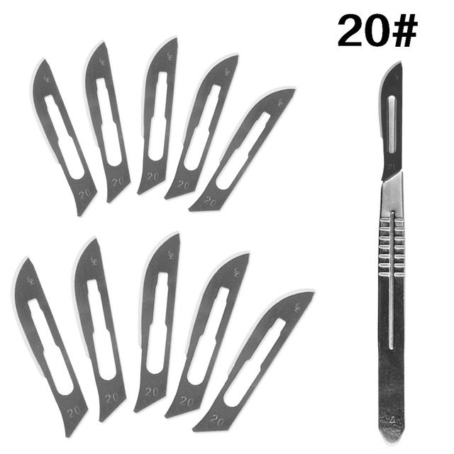 10 pc 20#–23# Carbon Steel Surgical Scalpel Blades + 1pc 4# Handle Scalpel DIY Cutting Tool PCB Repair Animal Surgical Knife