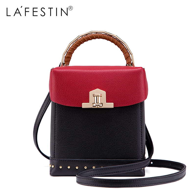 LAFESTIN 2017 Women Cow Leather Shoulder Bag Box Genuine Leather Handbag Fashion Women Crossbody Bag Brands bolsa lafestin luxury shoulder women handbag genuine leather bag 2017 fashion designer totes bags brands women bag bolsa female