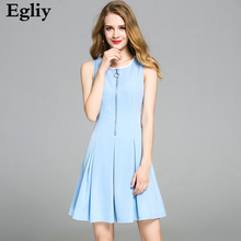Egliy 2017 New summer time gown Tank O-Neck luxurious Zippers Sleeveless attire girls Strong Blue vestido Camisole A-Line Gown