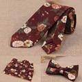 De gama alta conjunto corbata para los hombres de mariposa bowknot pocket square pañuelo floral corbatas trajes del vestido de boda de la pajarita de negocios