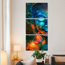 3 Pieces Abstract Blue Buddha Portrait