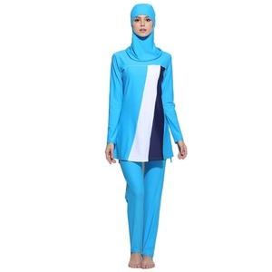 Image 3 - HAOFAN maillot de bain à rayures imprimé Hijab pour femmes, grande taille islamique, Surf, vêtements de Sport, burkina 5xl 6XL, maillot de bain musulman
