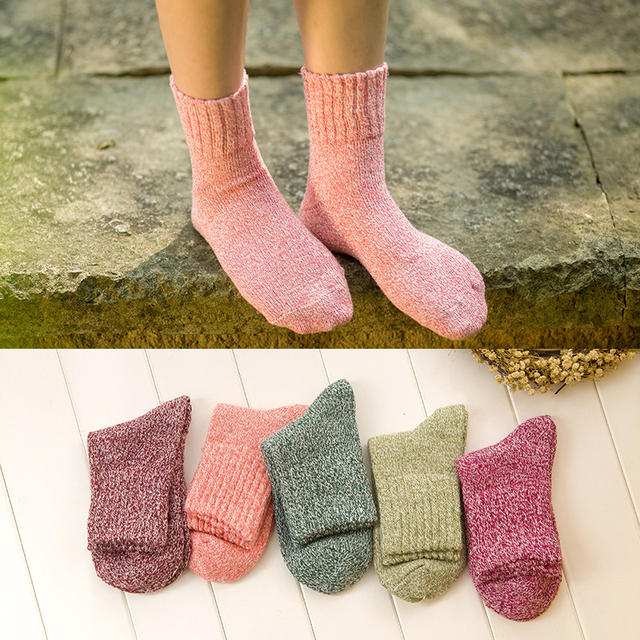 Winter Thermal Thick Socks  Comfortable Female Solid Casual