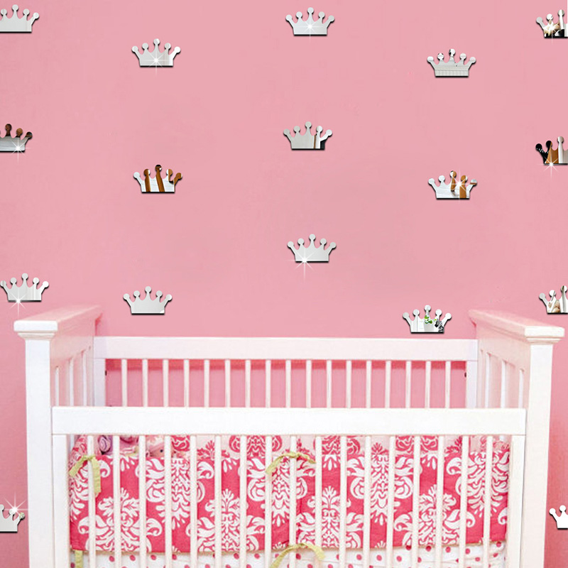 18Pcs/lot 4*7cm 3D Acrylic Mirror Wall Stickers Kids Room Decoration Princess Crown Shape Sticker Wall Art Decals Home Decor