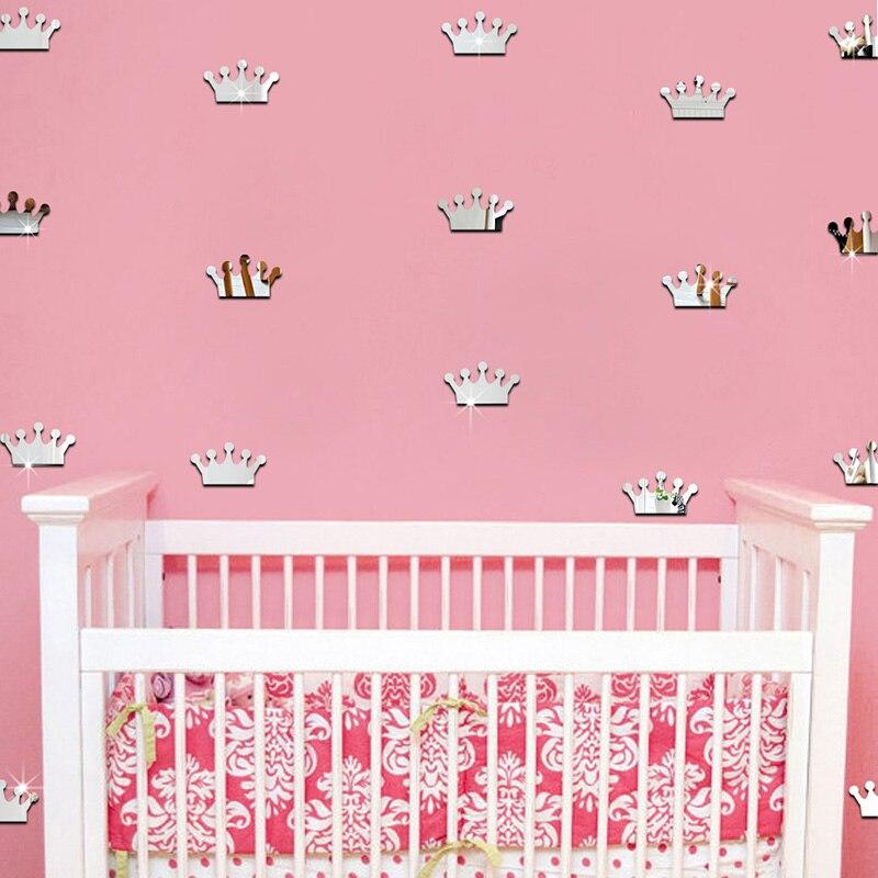 18Pcs/lot 4*7cm 3D Acrylic Mirror Wall Stickers Kids Room Decoration Princess Crown Shape Sticker Wall Art Decals Home Decor 8Z