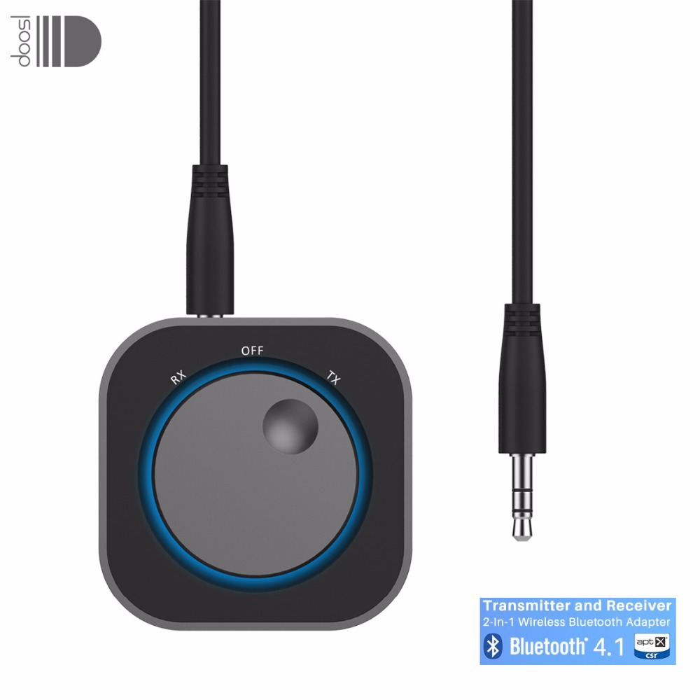 Doosl Bluetooth 4.1 Transmitter and Receiver 2-In-1 Wireless Bluetooth Adapter 3.5mm Stereo Output for Headphone TV  PC Speaker dl link 3 5mm mini bluetooth audio transmitter a2dp stereo transmitter transmite dongle adapter for tv ipod mp3 mp4 pc