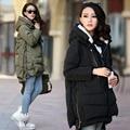 Las mujeres embarazadas abrigo de invierno abajo en la parte larga de algodón Coreano tamaño de maternidad abrigo de invierno gruesa campera de abrigo
