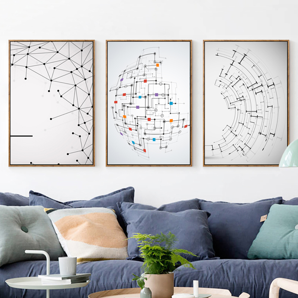Straight Line Modern Art : Bianche wall modern abstract polygon straight line and