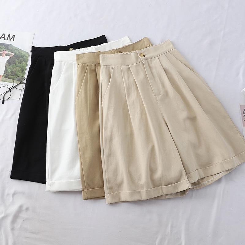2019 New Summer Safari Style High Waist Loose   Pants   Women Casual Slim Knee Length   Pants   Cuffs Cargo   Pants   wide legs   Capris   Mw674