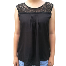 Sexy Womens Lace Patchwork Chiffon Tops Blouse Females Sleeveless Casual Ukraine Pullovers Blusa Base Shirt Plus Size Black 5XL