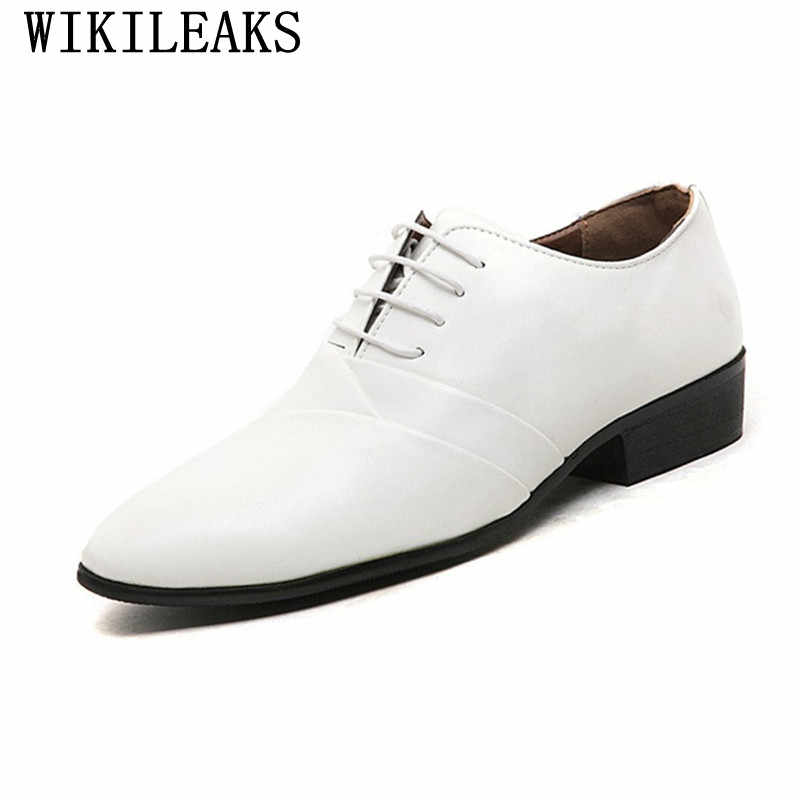 b47a6df3fd9 2018 designer wedding shoes man leather white oxford shoes for men formal  mariage mens pointed toe