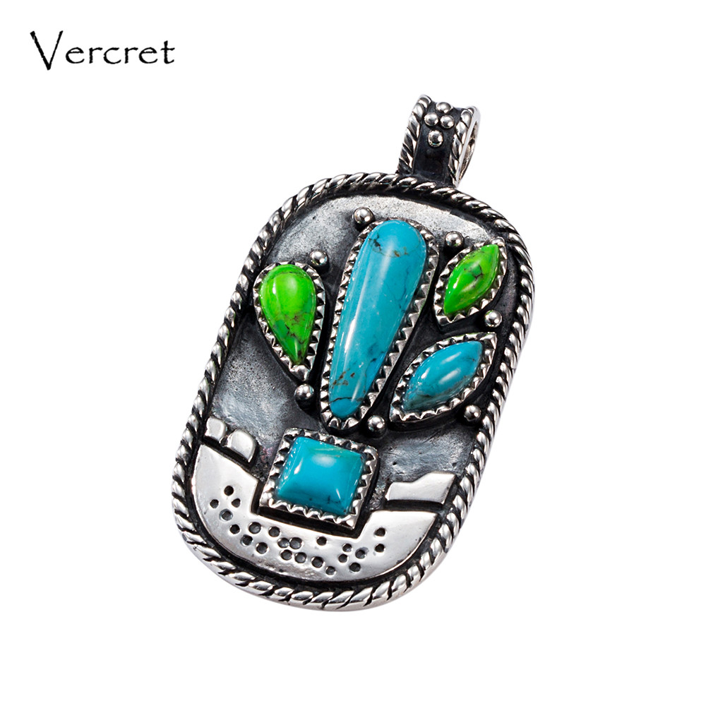 Vercret Turquoise 925 Sterling Silver Native American Necklace Pendents for Women Vintage Cactus Fine Jewelry Silver Pendent все цены