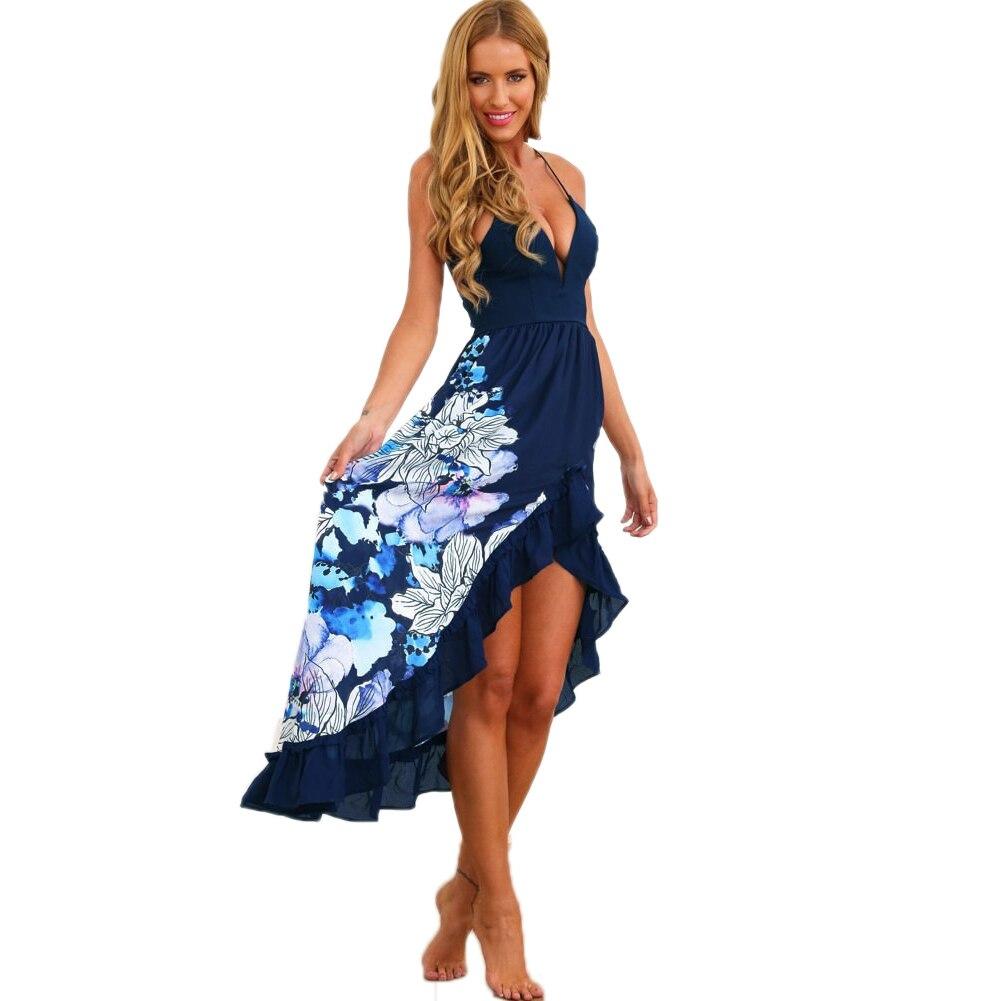 V neck halter summer dress mid