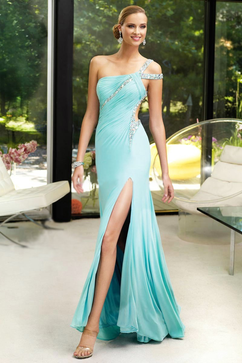 Custom Made Distinctive One- Shoulder Full Length High Slit Light Blue Open Back Sain Sheath Evening Dress Prom Ball Party Gown