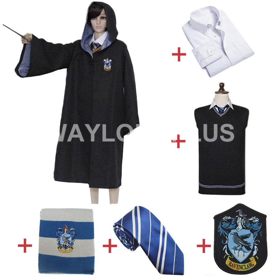Free Shipping Ravenclaw Cosplay Robe Cloak Shirt Scarf Tie Sweater Uniform for Harri Potter Cosplay