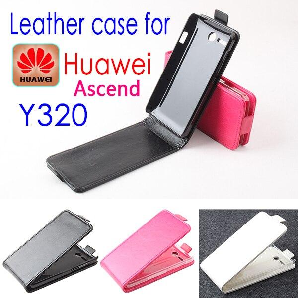 Case cubierta del tirón de cuero de lujo original de huawei y320 teléfono celula