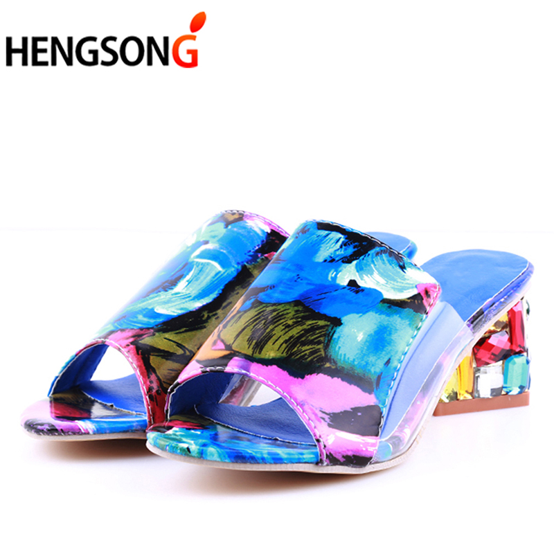 Fashion Rhinestone Sandals Women Slippers Fish Head Diamond Yards Summer Sandals Thick High Heels Female Sandals Shoes OR643455 2016 summer new fish head roman sandals women 14cm heels thick with thin waterproof shoes
