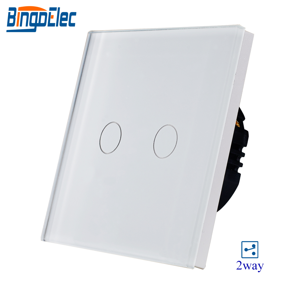 BIngoelec 2 Gang 2 Way Touch Switch Glass Panel Sensor Screen Light Electrical EU Standard Wall Switch AC 220-250 VBIngoelec 2 Gang 2 Way Touch Switch Glass Panel Sensor Screen Light Electrical EU Standard Wall Switch AC 220-250 V