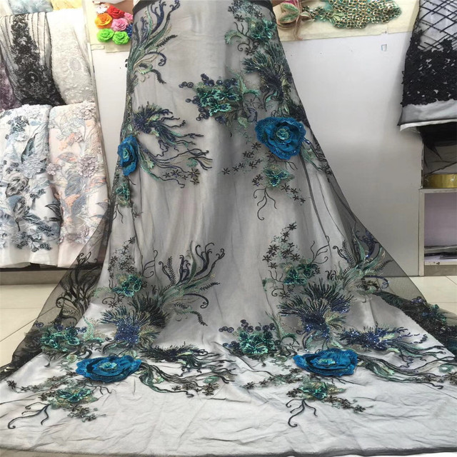 Green Wedding Dress Lace Fabric, 3D Chiffon Flowers Nail Bead and sequins High End European Lace Fabric Free Shipping H118-2