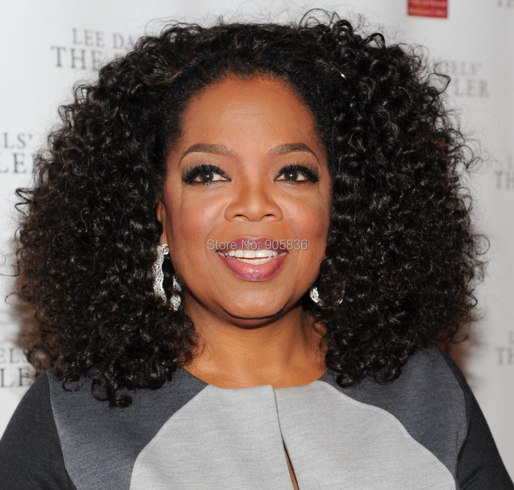 Oprah Winfrey Short Hairstyle Afro Kinky Curly Wigs Black Short Lace