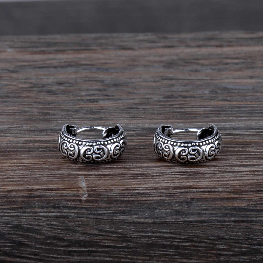 Mythic Age Real 925 Sterling Silver Tribal Symbol Vintage Small Hoop Earrings Jewelry Gift for Women Men