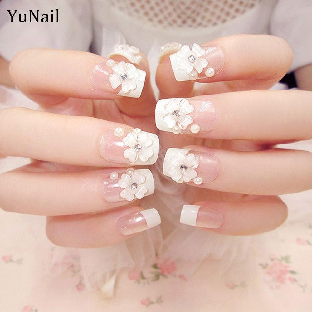 24pcs/Set Wedding Bride Nail Art Design 3D Flower Decal Glitter ...