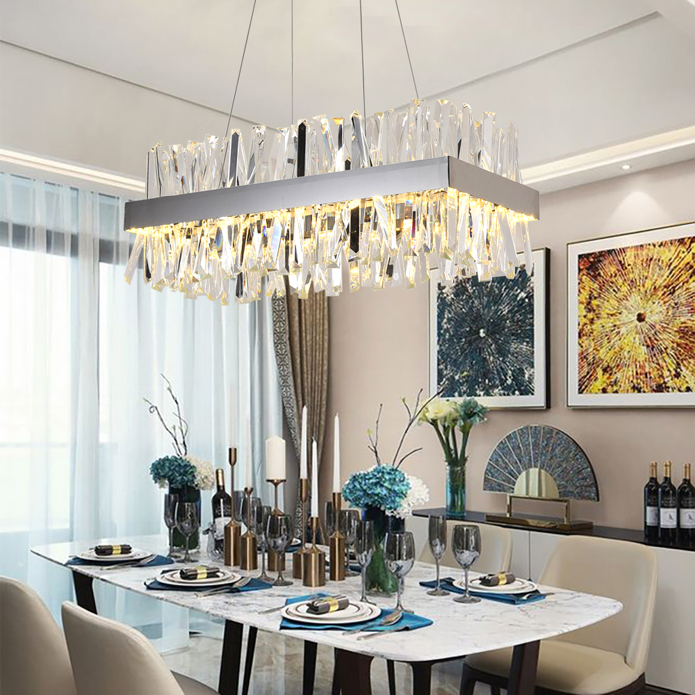 Rectangle Crystal Chandelier Lighting