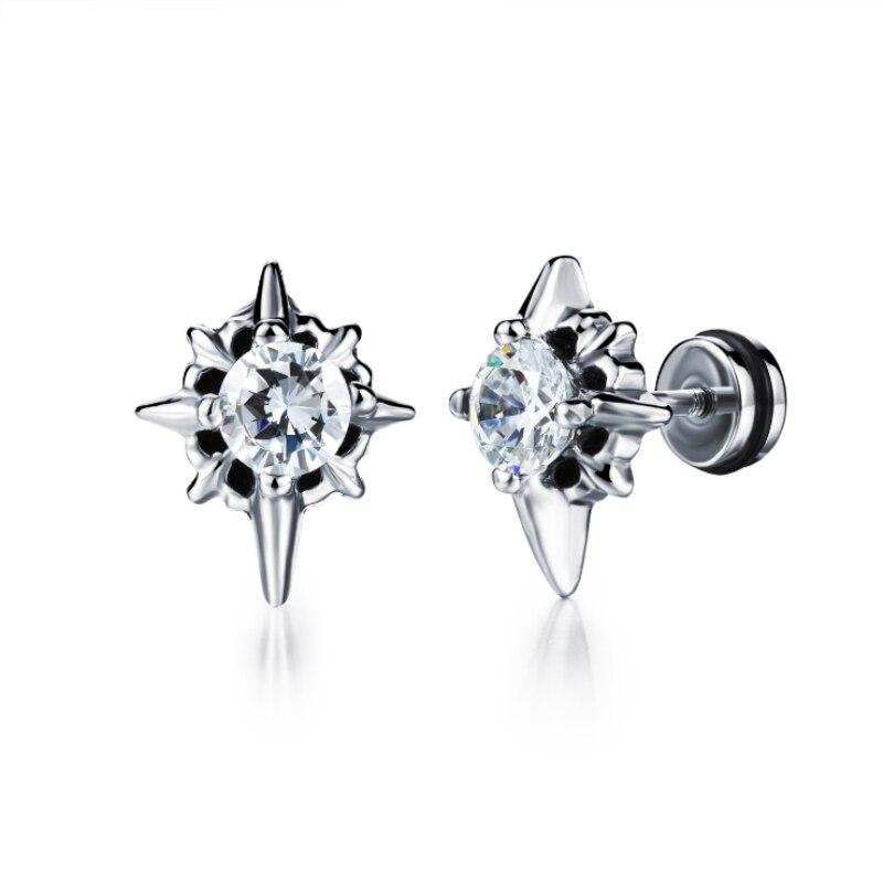 Punk Unisex Stainless Steel Cross Cut Zircon CZ Front and Back Double Side Stud Earrings Fashion Jewelry Bijoux for Women Men