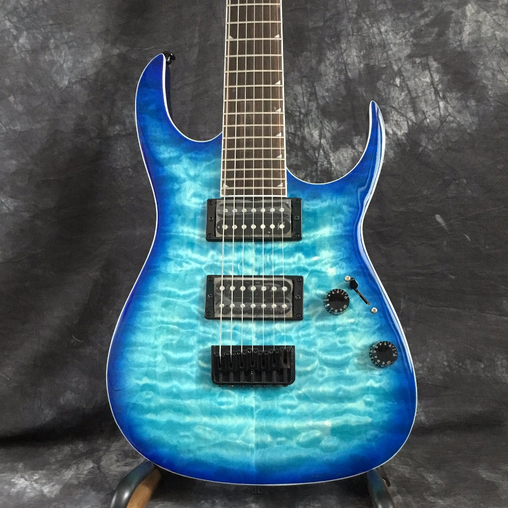 China Custom Shop Blue Classic 7 String Electric Guitar Mahogany Body For Sale Free Shipping high quality custom shop lp jazz hollow body electric guitar vibrato system rosewood fingerboard mahogany body guitar