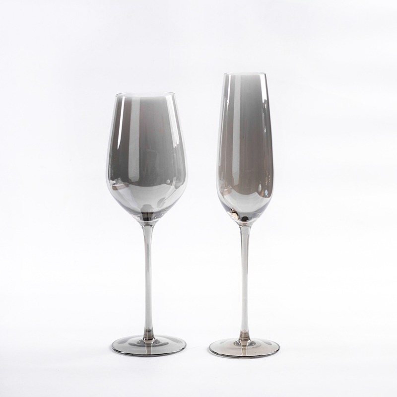 Europe Smoke gray creative glass wine glass goblet Champagne glasses plating Lead free wine cups party home Drinking utensil in Wine Glasses from Home Garden