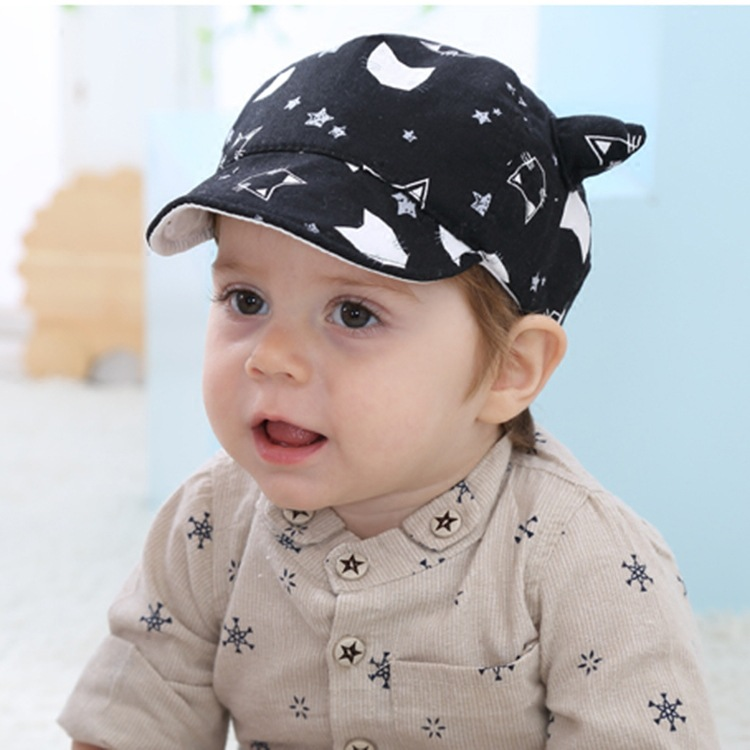 kids beanies Baby children cartoon horn hats spring and autumn new boy and girl baby cats sun hats shade baseball cap