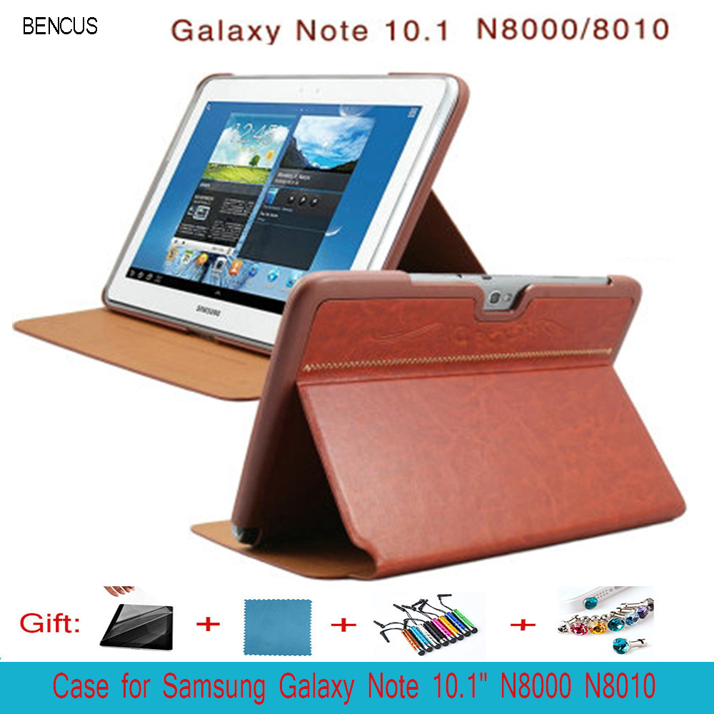 BENCUS  For Samsung Galaxy Note 10.1 N8000/N8010 Folio Stand Case Cover Ultra Thin with Screen Protector+ Pen pu leather cover case for samsung galaxy note 10 1 n8000 n8010 n8020 tablet model gt n8000 screen protector pen