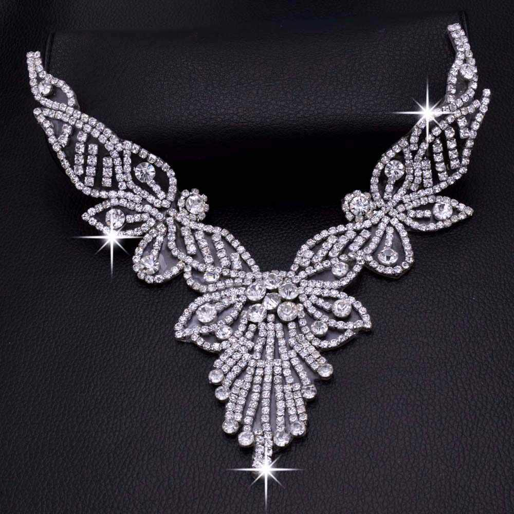 DIY 2pcs Iron on Tassel luxurious Crystal Bride Rhinestone Necklines  Decoration V neck Hot fix Applique b8f8b0d71875